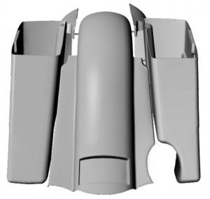 3D rendering of Misfit Industries' Brennivin Real Steel Saddlebag Kit